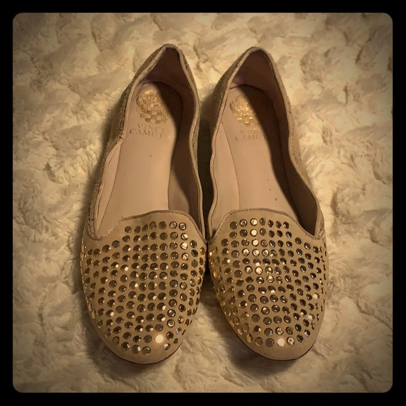 Vince Camuto studded suede/leather flats